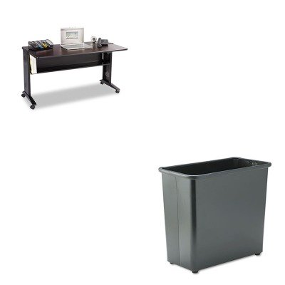 KITSAF1933SAF9616BL - Value Kit - Safco Mobile Computer Desk W/ Reversible Top (SAF1933) and Safco Fire-Safe Wastebasket (SAF9616BL) by Safco