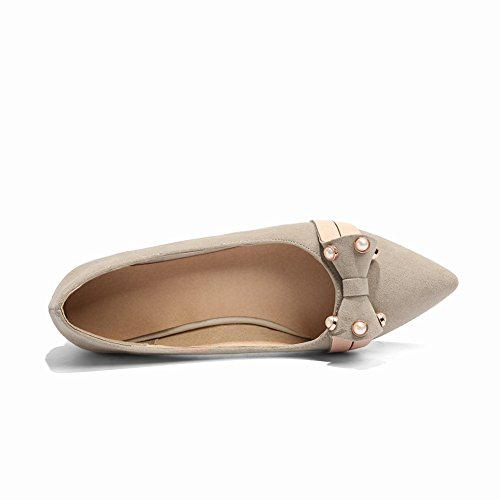 Shoes Toe Pointed Flats Womens Bows Charm Heel Low Beige Casual Foot IPxq6gwz4