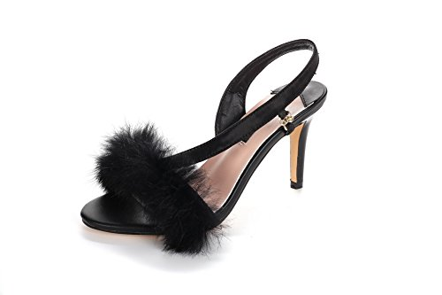 Amoonyfashion Donna Pull On Materiali Mix Open Toe Picchi Stiletto Sandali Neri