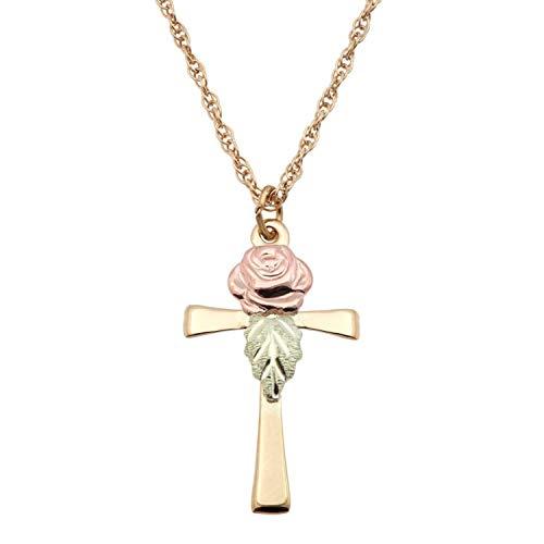 (Black Hills Gold Rose Cross Necklace)