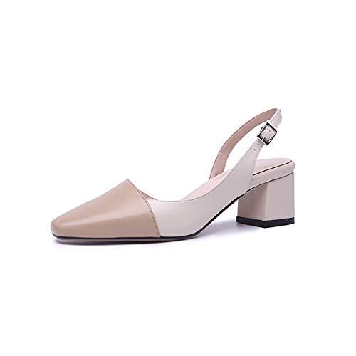 Chaussures Hauts cinq Pour Talons Filles Sacs Sandales Femmes 5cm Trente Et Kaki Carres Kphy Vritable Cuir pwUdqpgC