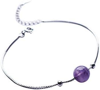 s925 pulsera de amatista de plata esterlina Mori personalidad de la mujer pulsera de cristal de estudiante simple tendencia joyería de moda salvaje  L4yngd