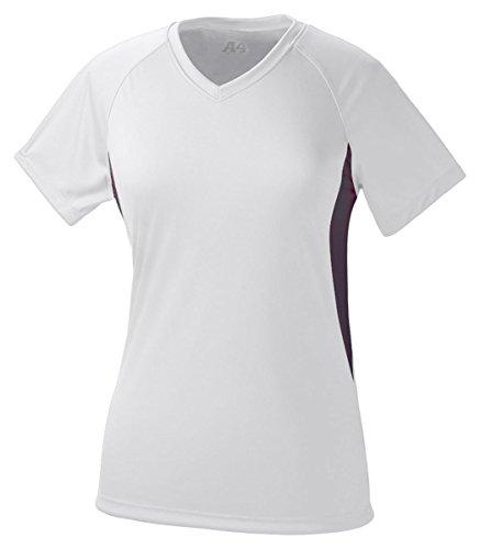 A4 Women's Cooling Performance Color Block Short Sleeve Tee, White/Black, Medium