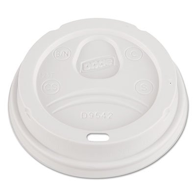 ** Dome Drink-Thru Lids, Fits 12 oz. & 16 oz. Paper Hot Cups, White, 100/Pack
