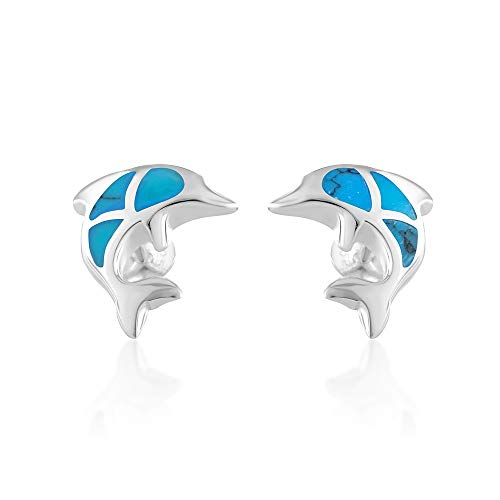 925 Sterling Silver Little Dolphin Porpoise Fish Synthetic Blue Turquoise Post Stud Earrings 12 mm