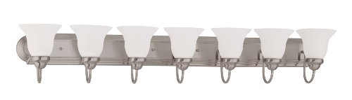 (Nuvo Lighting 60/3327 Ballerina 7-Light 48-inch Vanity with Frosted Glass Shade, Brushed Nickel)