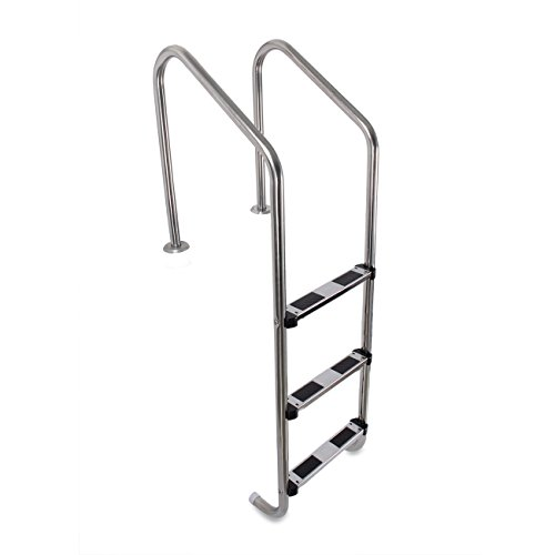 - ARKSEN In-ground 3 Step Swimming Pool Ladder w/Non-Skid Step Easy Mount Legs Heavy Duty, Stainless Steel