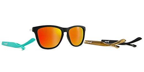 Kameleonz North Shore Sunglass, Matte Black Frame, Red Revo UV400 - Sunglasses Shore North