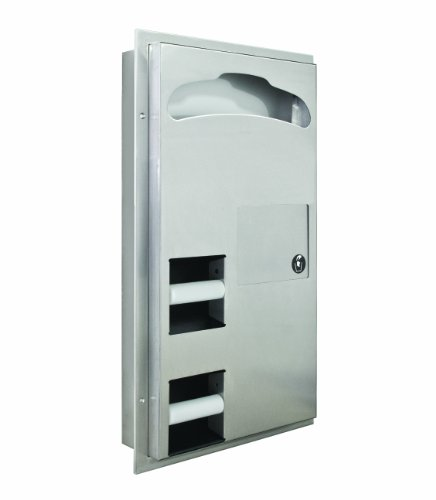 Bradley 591-000000 Stainless Steel Partition Mounted 2-Stall Seat Toilet Cover/Tissue Dispenser, 17-1/8
