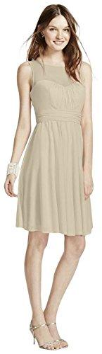Davids Bridal Short Mesh Bridesmaid Dress With Sweetheart Illusion Neckline Style F15701