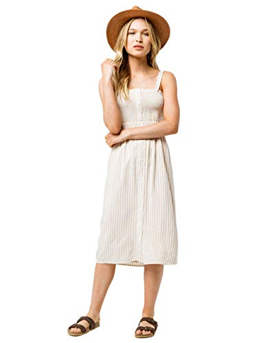 (SKY AND SPARROW Smocked Button Front Midi Dress, Tan, Large)