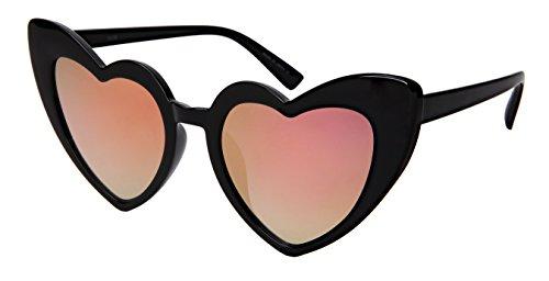 Edge I-Wear Vintage Women's Love Heart Plastic Cute Sunglasses w/Flat Lens - Love I Eyewear