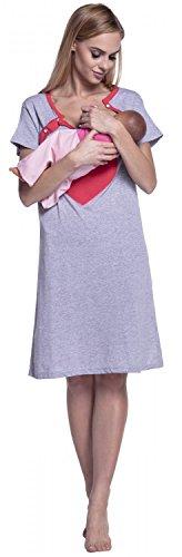 Happy Mama. Para Mujer Camisón Estampado Premamá de Embarazo y Lactancia. 873p Coral