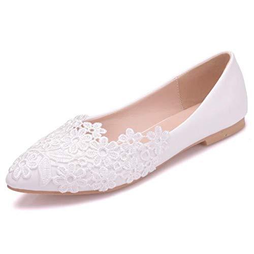 553b3c999b0c8 COVOYYAR Women's White Embroidered Flower Ballet Flats Dress Wedding Bridal  Shoes (10)