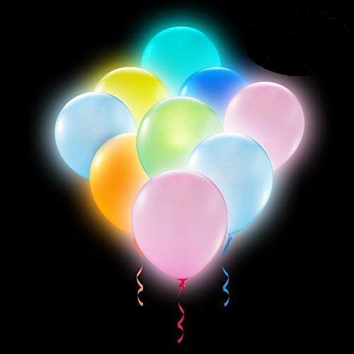Party LED Balloons Lights 50 Pieces Balloons LED Assorted Colors Luminous Balloons Flashing Light ( Pack of 50 ) - Light Bulb Balloon