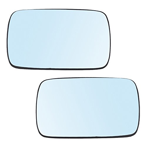 (Pair Set Power Side View Mirror Blue Tinted Glass w/Bases Heated Replacement for BMW 3 Series 5 Series 51168250436 51168250439 AutoAndArt )