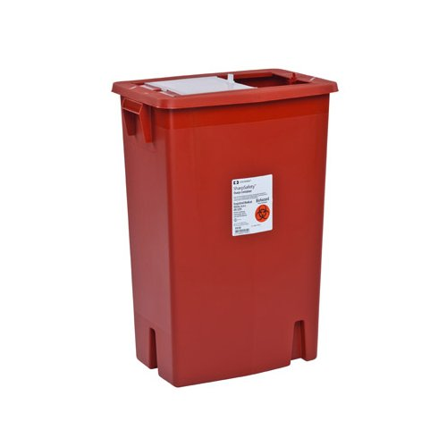 SharpSafety Sharps Container, Slide Lid, Red, 18 Gallon (5 Per Case) - BMC-MON 89382800