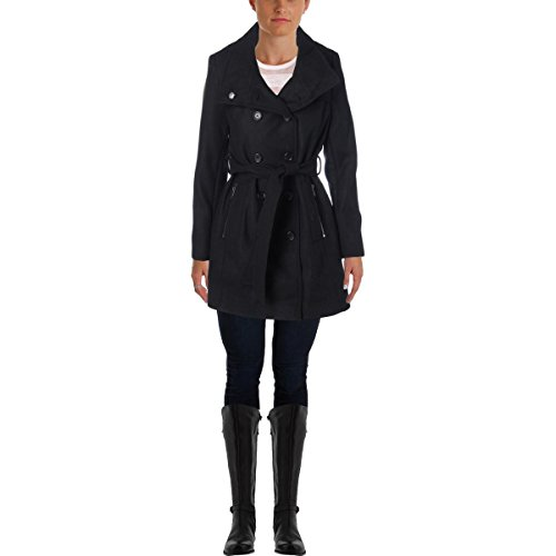 DKNY Womens Wool Double-Breasted Trench Coat Black - Down Dkny Coats
