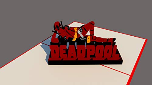 Deadpool Marvel 3D Pop Up Card with envelope-Unique Pop Up Greeting Card for Birthday, Christmas, Anniversary, Valentine, Wedding, Graduation, Thank You. Love Letters I Love -