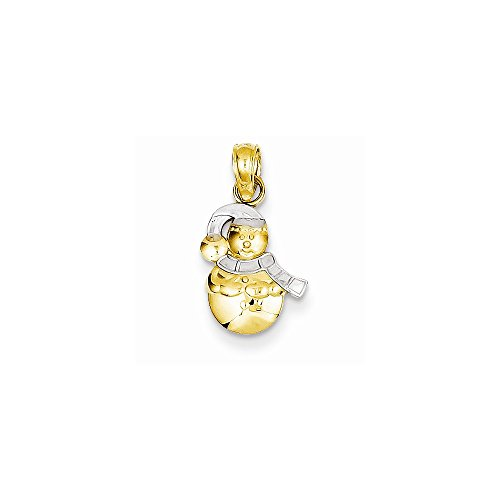 14k Yellow Gold Snowman Pendant Rhodium (Snowman Gold 14k Yellow)