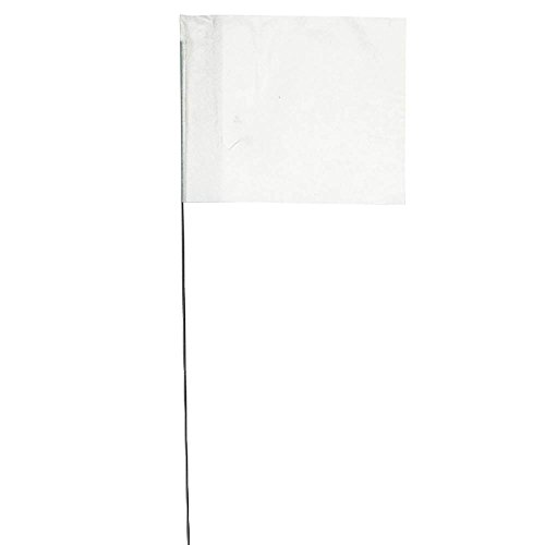 Vinyl Stake Flags with Wire Stakes, Bundle of 100 Marking Flags (White)