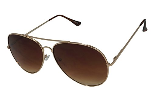 So In Luxe Aviator Retro Fashion Glasses Dark Lens Oversized (X-Large, Gold, Brown Lens)