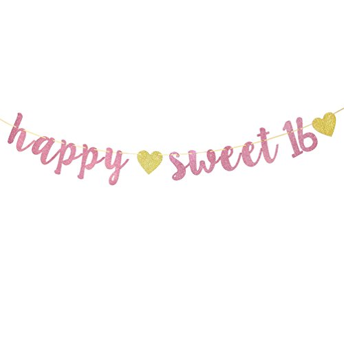 Sweet 16 Banners (Happy Sweet 16 Banner - Pink and Gold Glitter Sweet Sixteen Sign -16th Birthday Decorations - Milestone Happy Birthday)