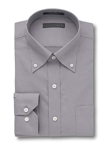 (Damon Ultra Pinpoint Dress Shirt | Button Down Collar Grey 16 1/2 x 34/35)