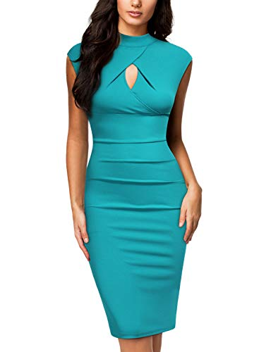 Miusol Women's Business Slim Style Ruffle Work Pencil Dress (XX-Large, C-Acid Blue)