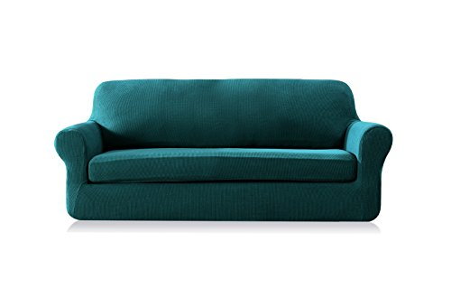 Subrtex 2 piece spandex stretch sofa slipcover loveseat blue furniture sofas loveseats Blue loveseat slipcover