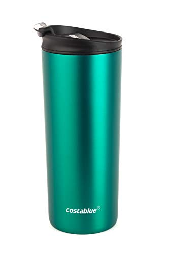 Costablue Vacuum Insulated Stainless Steel Travel mug , 16 Oz Easy to clean and leak proof lid, Color Matte Green (Green Travel Mug)