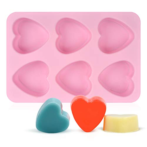 SJ Heart Silicone Mold, 6 Cavity 4 Ounce Bar Heart Mold for Soap, Resin, Candle, Muffin and Loaf, Pack of 1