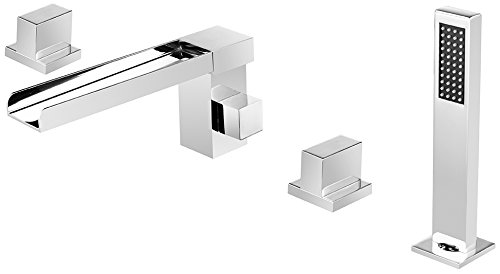Dyconn Faucet BTF52-CHR Signature Series Eagle 4 Hole Roman Tub Filler Deck Mount with Matching Hand Shower, Chrome (Roman Tub Series Filler)