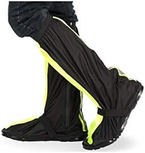 防水靴カバー、オックスフォード布ハイチューブ登山乗馬雨靴カバー、黒