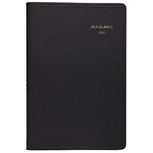 AT-A-GLANCE 2020 Daily Planner/Appointment Book, 5-1/2' x 8-1/2', Small, Black (708000520)