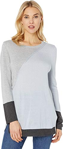 Vince Camuto Womens Long Sleeve Color Block Side Split Crew Neck Sweater Northern L ()