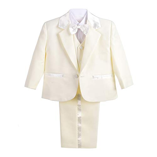 Dressy Daisy Baby Boy' 5 Pcs Set Formal Tuxedo Suits No Tail Wedding Christening Outfits Size 3-4T Ivory