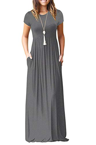 (AUSELILY Women Short Sleeve Loose Plain Casual Long Maxi Dresses with Pockets (S, Gray))