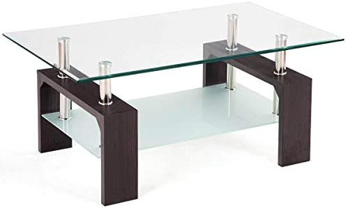 Casart Glass Coffee Table Modern Simple Style Rectangular Wood Legs End Side Table Living Room Home Furniture