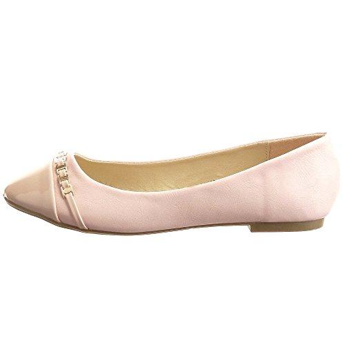 Sopily - damen Mode Schuhe Ballerina Kette metallisch - Rosa