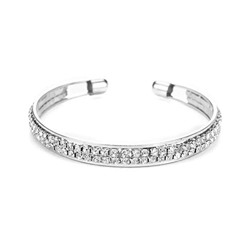 LOSOUL Bracelets Charms for Woman Girls Silver Open Chain 2 Rows Full of Drills Bracelet Hand Strap Making Jewelry Temperament Clothing Accessories Friendship Birthday Gift,Silver