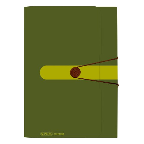 Herlitz 11282670 Fächermappe, Recycling Polypropylen-Folie, mit 12 dehnbaren Fächern, dunkelgrün