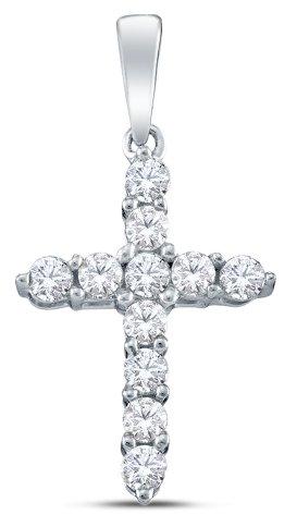 0.24 cttw. Diamond Cross Pendant 14K White Gold
