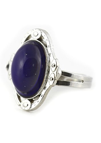 Oval Cabochon Mood Ring Adjustable Silver Tone RM31 Color Change Statement Fashion Jewelry