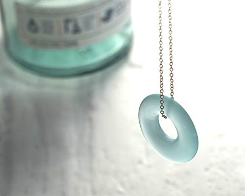 (Icelandic Vodka Necklace - Recycled Reyka Bottle Pendant - Icy Gray Glass - Seaglass Finish)