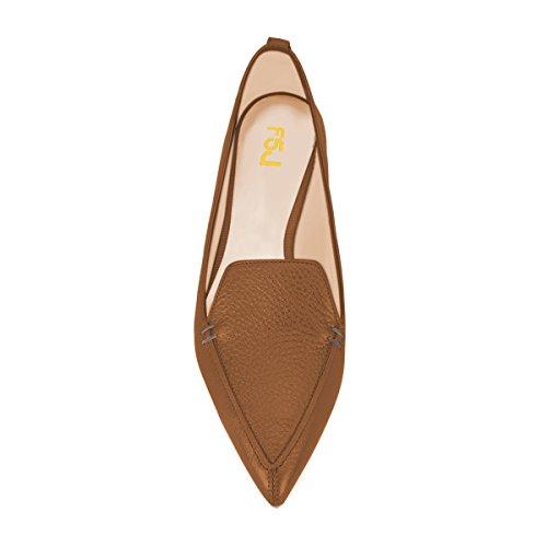 Nuevos estilos baratos en línea Venta Mejor Vendedor Fsj Moda Mujer En Punta Bombas De Tacón Bajo Mocasines Casuales Resbalón En Los Zapatos De Verano Tamaño 4-15 Nos Bronce Mate Pids4