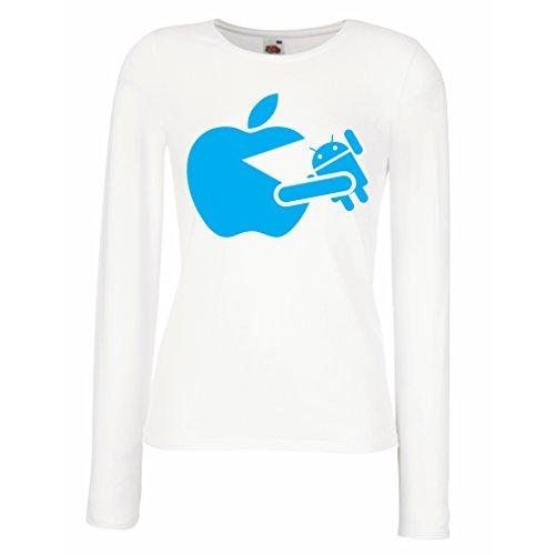 Camisetas de Manga Larga para Mujer Funny Apple comer un robot - regalo para los fanáticos de la tecnología Blanco Azul