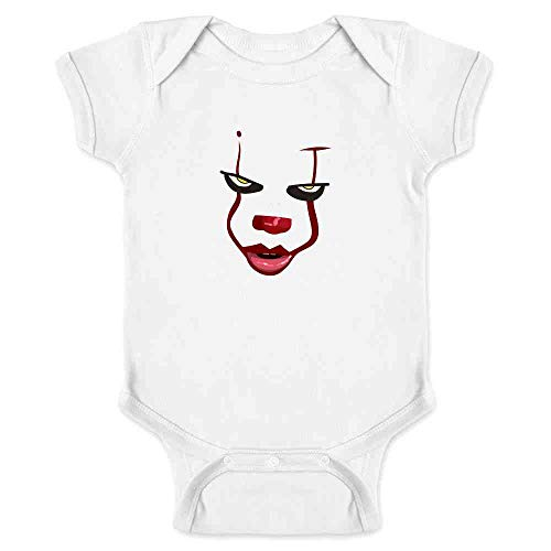 Pop Threads Clown Face Horror Halloween Scary White 6M Infant Bodysuit