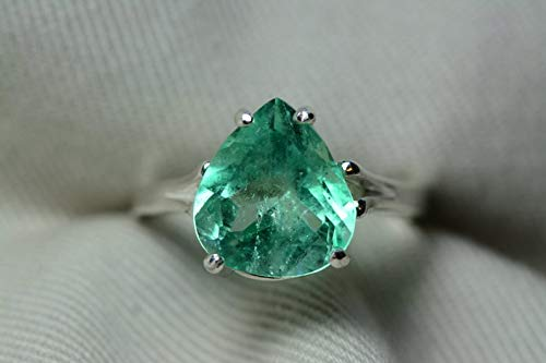 Certified 3.73 Carat Emerald Ring, Colombian Emerald Solitaire, Sterling Silver Genuine Real Natural Pear Cut May Birthstone Jewelry er23 ()