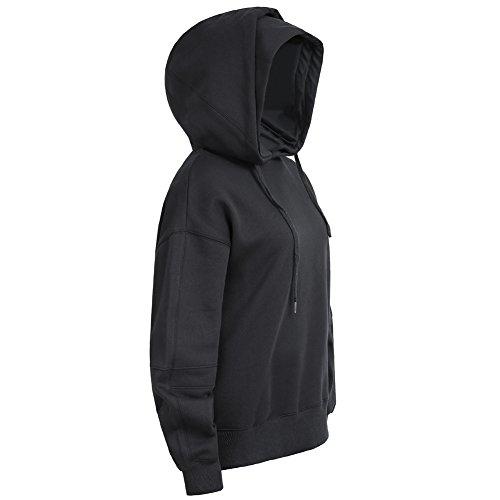 Pumpkin Brother Men's Pullover Cover Hoodies Fleece Terry Hooded Sweatshirts Solid Long Sleeve Hoodie Black XL